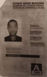 רשיון הנהיגה המקסיקני שהוצג לשוטרים