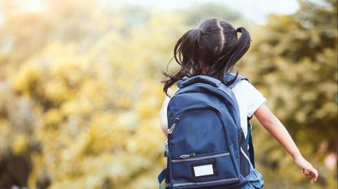 ילדה הולכת לבית הספר. תלמידה