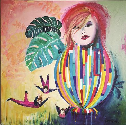 flying high , יצירה של Matrushka - האמנית מירי שכטמן פס, אקריליק על קנבס