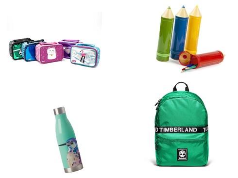 קלמר עפרונות ענק, 19 שקלים, להשיג ב- gadgetshop.co.il. תיק אוכל יולו, 65 שקלים. תיק טימברלנד, 199 שקלים. בקבוק שתייה, נעמן, 59.90 שקלים.