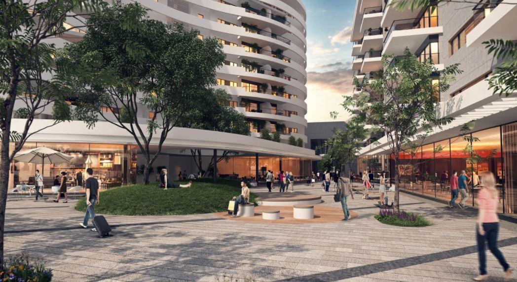 """הדמייה של המרכז המסחרי בפרויקט ה""""בלוק"""" בבאר שבע"""