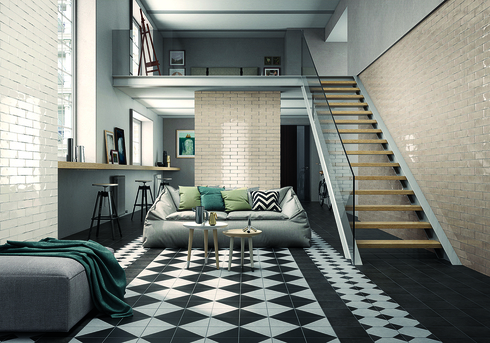 מקצב גיאומטרי בסלון מייתר את הצורך בשטיח DECUS, להשיג ב- HeziBank