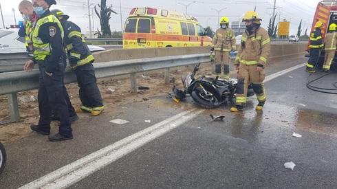 זירת התאונה כביש 431 סמוך למחלף ראשונים