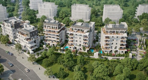חמישה בניינים בני ארבע קומות