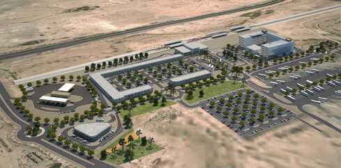 הדמיית פרויקט המלון החדש המרכז התחבורתי בצומת הנגב סמוך לירוחם