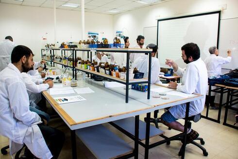 הסטודנטים במהלך העבודה במעבדה