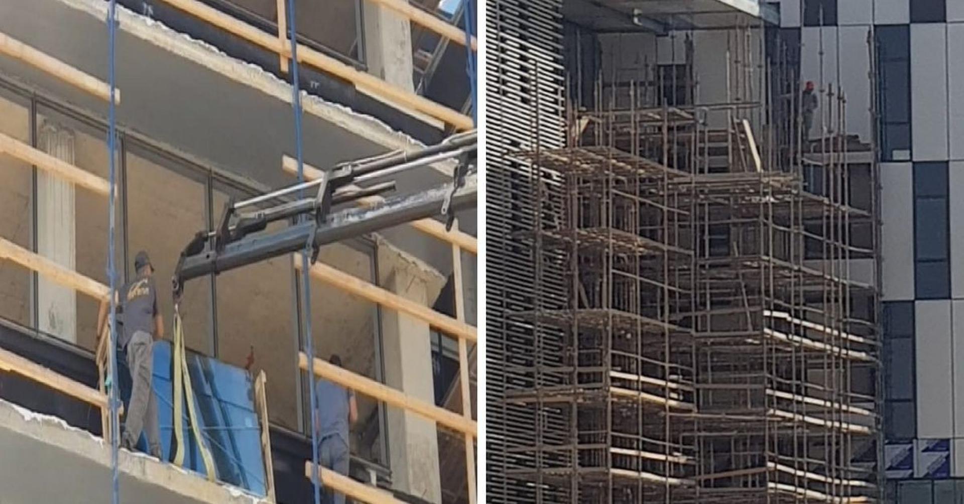 אתרי בנייה במודיעין - עובדים ללא רתמה וקסדות | צילום: מוקד קו לחיים